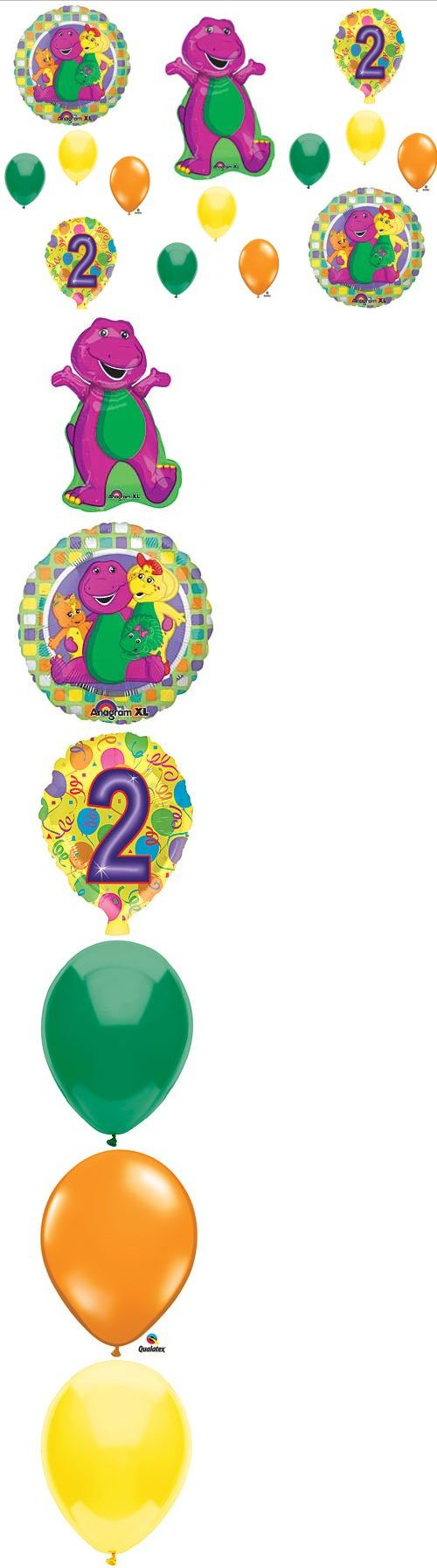 BARNEY 2nd BIRTHDAY PARTY Balloons Decorations Supplies Baby Bop - This listing is for an 14-piece Barney Birthday Party balloon kit for a 2nd Birthday.   You will receive:    One (1)  34 Barney Mylar shape balloon.   Two (2) 18 Barney and friends round mylar ballo... - Party Supplies - Office Products - $14.50