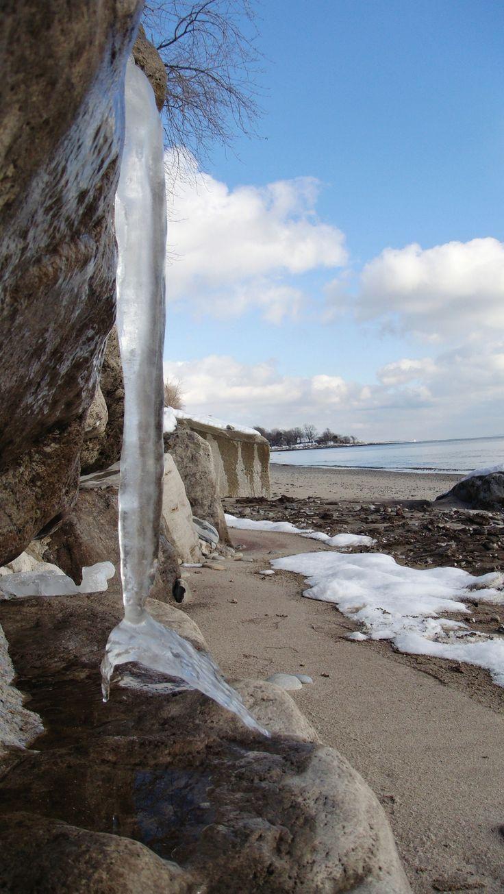 Winter beach on Lake Erie, Ontario