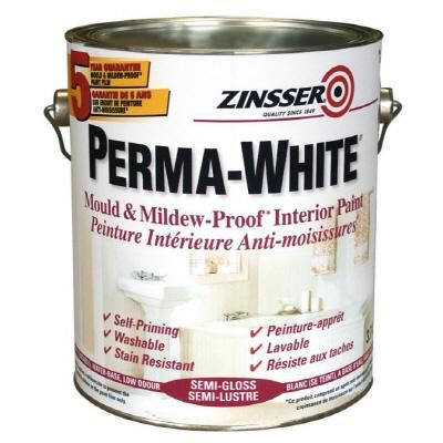 Zinsser Perma-White. Tintable & good for painting trailer interiors.