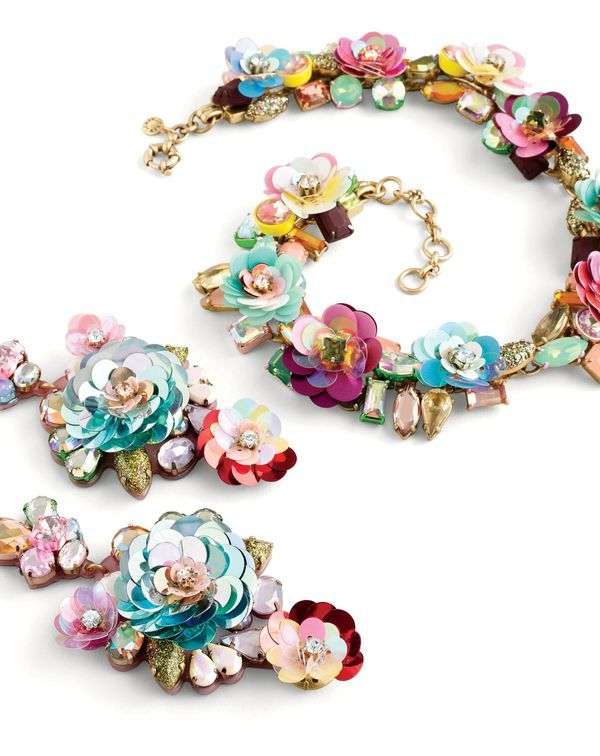 J.Crew women's blooming sequin paillette necklace and blooming sequin paillette earrings.