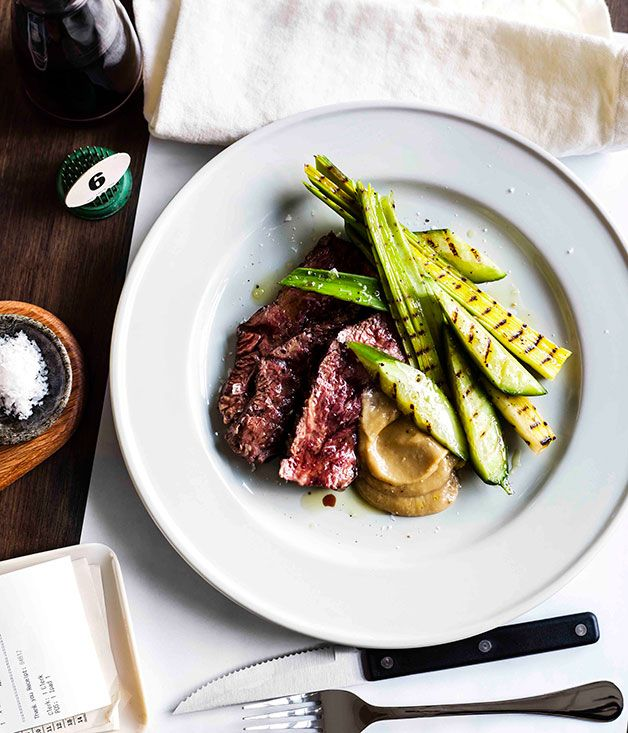 Hanger steak with charred cucumber and garlic purée - Gourmet Traveller