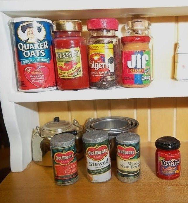 Kitchen With Food 115 best tutorials: miniature kitchen (cans, jars, & bottles