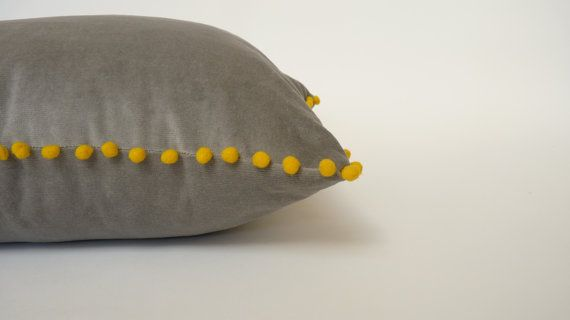 Hey, I found this really awesome Etsy listing at https://www.etsy.com/listing/253876399/grey-and-yellow-pillow-velvet-pom-pom