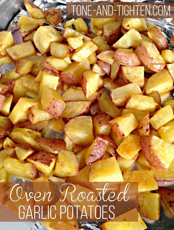 Oven Roasted Garlic Potatoes on Tone-and-Tighten.com - a healthy side dish!