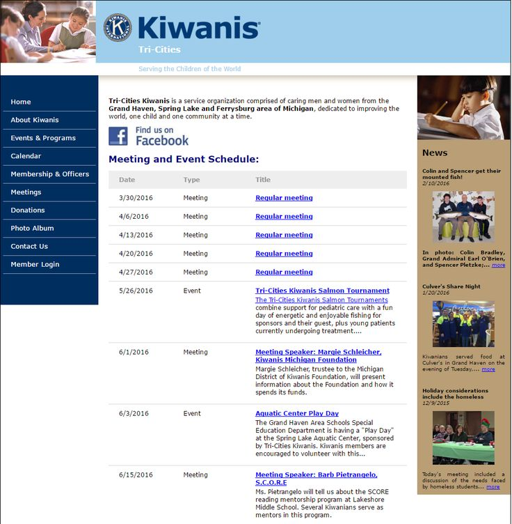TRI-CITIES KIWANIS CLUB - The site is packed with lots of activities. Just look at their Events & Programs page. They have several activities like the Salmon Tournament, TCK Golf Classic, Kelly-Miller Circus and a lot more. Show your support by clicking the Donations page and contribute to a worthy cause. http://www.tricitieskiwanis.org/