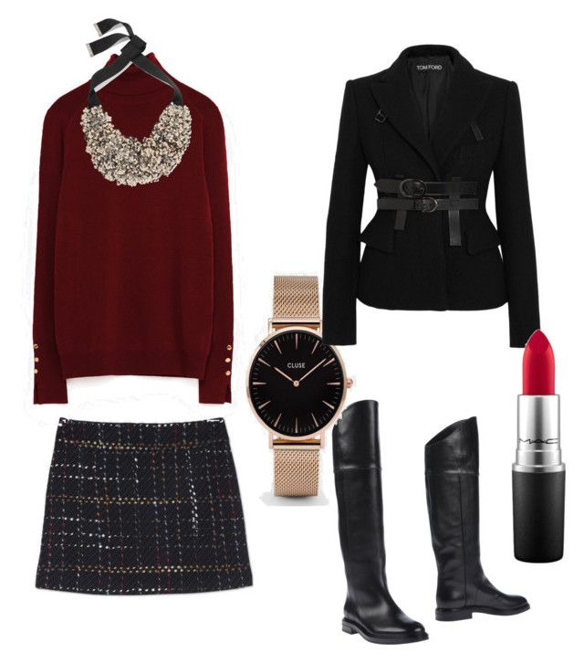 """""""Bottes cavalières outfit"""" by onemumshow on Polyvore featuring mode, Etro, Casadei, CLUSE, Tom Ford et MAC Cosmetics"""