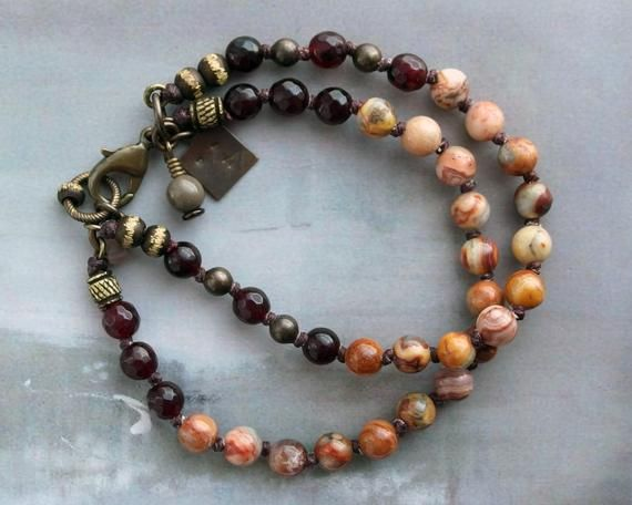 Crazy lace agate teardrop pendant and 6mm beaded bracelet with bronze spacers