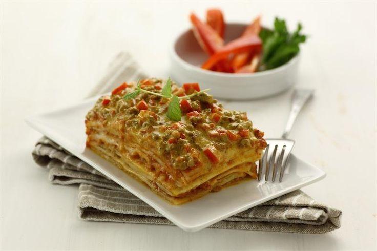 Lasagna verde con peperoni