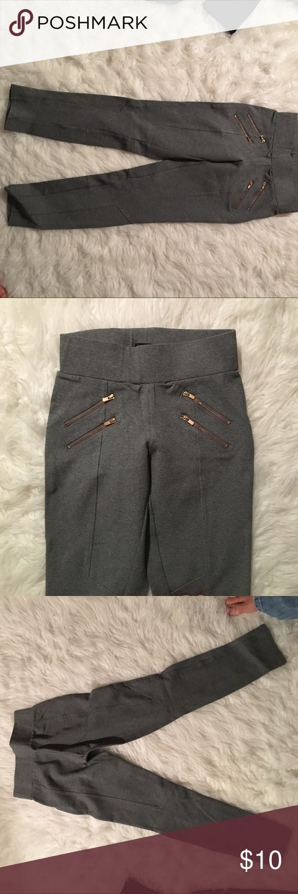 Riding pants. Gray gold zippers Fashion horse riding pants with gold zippers. Size small. Good condition. Always open to offers. They're very flattering. Pants Leggings