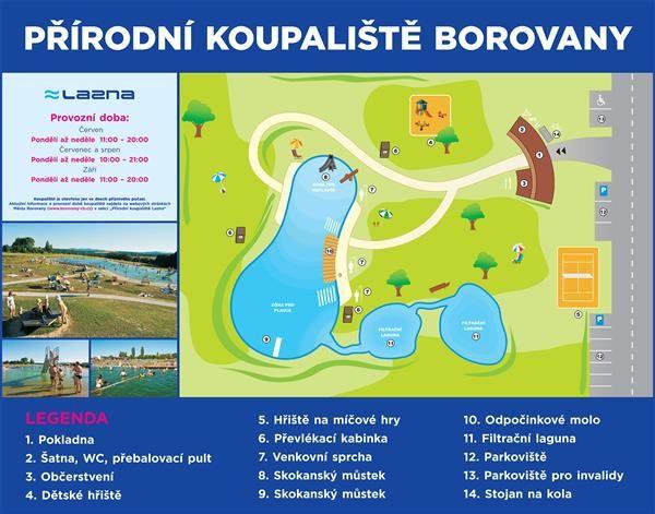 Přírodní koupaliště Lazna: Koupaliště Lazna: Město Borovany
