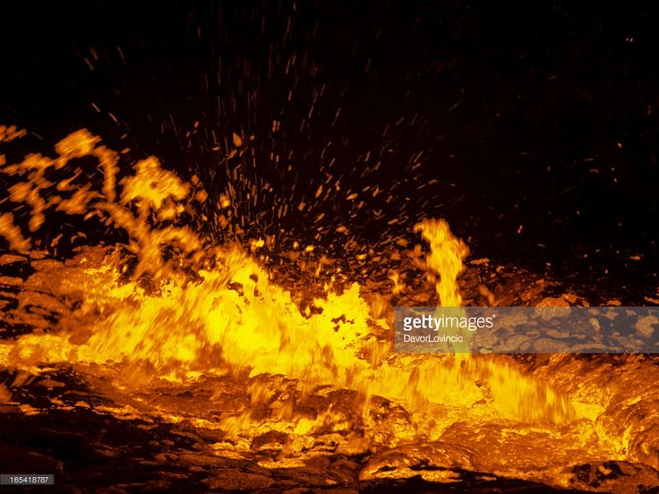 Small eruption on Volcano Erta Ale, which has a long-lived active lava lake. It is on East African Rift in the Danakil desert, Ethiopia.