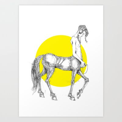 Young centaur with headphones and mp3 player Art Print Promoters - $14.56