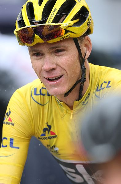 #TDF2016 Chris Froome of Great Britain and Team Sky crosses the finish line and retains the leader's yellow jersey following stage 20 of the Tour de France...