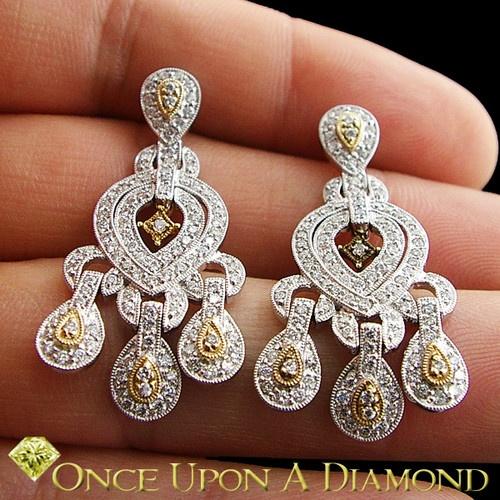 Ladies 1.50ctw Diamond Chandelier Earrings in 14K Yellow & White Gold | eBay
