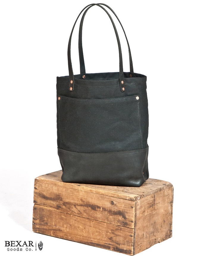 Leather waxed canvas tote by bexar goods co.: Canvas Wwwbexargoodscom, Jag Totes, Leather Canvas, Wax Canvas, Waxed Canvas, Leather Wax, All Canvas, Products, Canvases