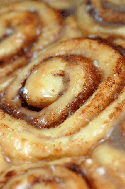 Absolutely Sinful Cinnamon Rolls.  DOUGH:  2 c milk  1/2 c vegetable oil  1/2 c sugar  1 pkg active dry yeast  4 1/2 c flour  1/2 t baking powder  1/2 t baking soda  1/2 T salt    FILLING:  1 c butter, plus more as needed  1/8 c cinnamon for sprinkling  1 c sugar, plus more as needed (Nice instructions for night before prep.  Pioneer Woman's recipe!)
