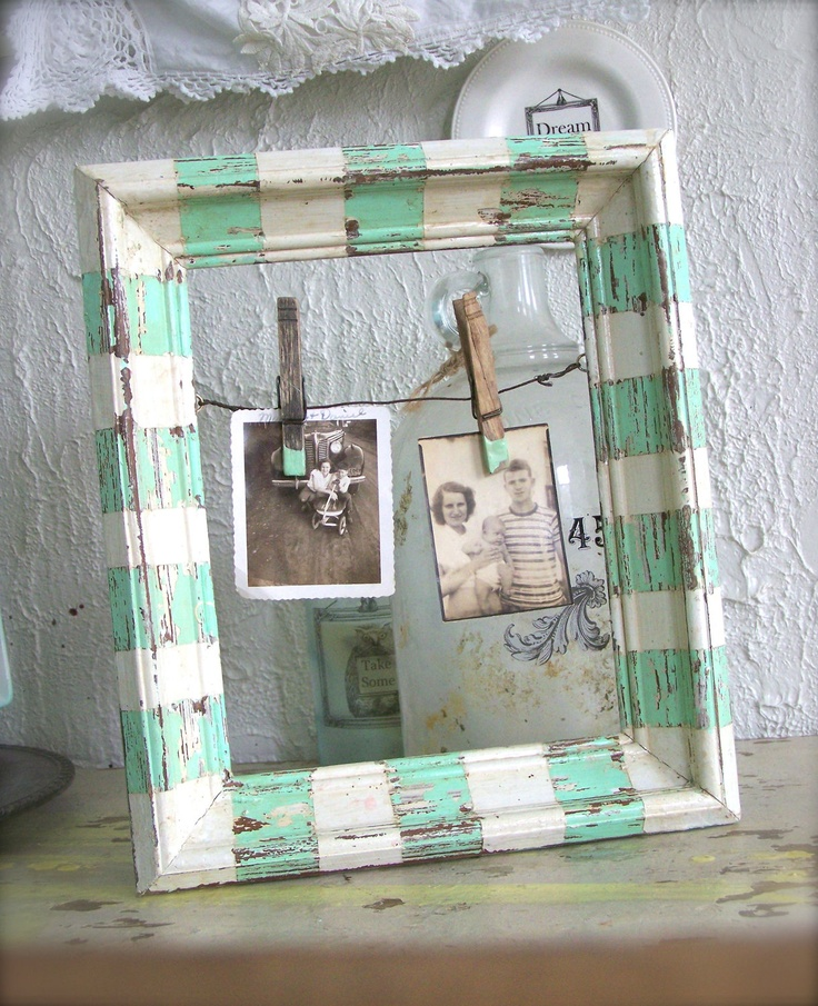 Beach Cottage Frame Stripes in AQUA & WHITE Wood Frame Chippy Paint Weathered w/ Rusty Wire and Clothespin hangers Farmhouse chic