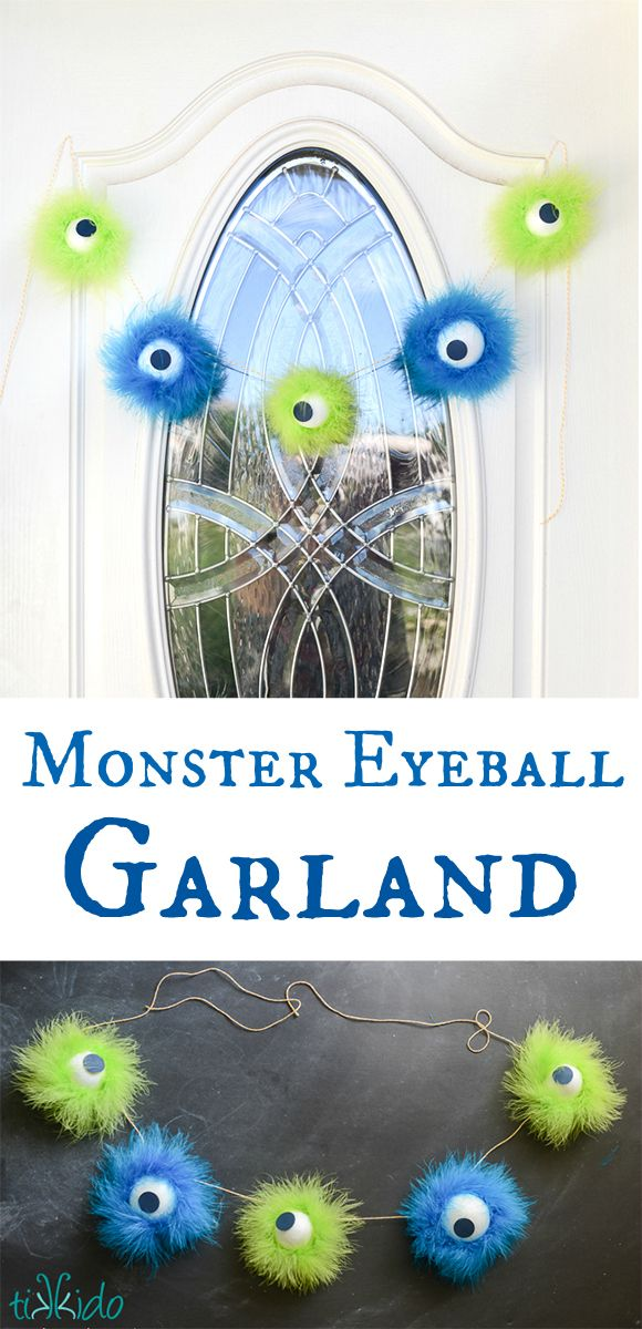 Make a friendly, furry, monster eyeball Halloween garland.