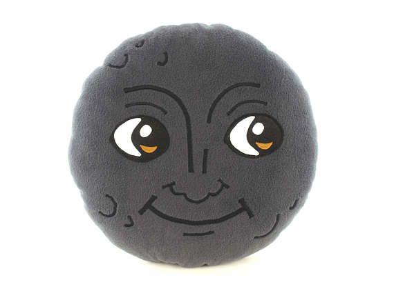 New moon face pillow | Creepy moon cushion | Dark moon emoji - SoftDecor