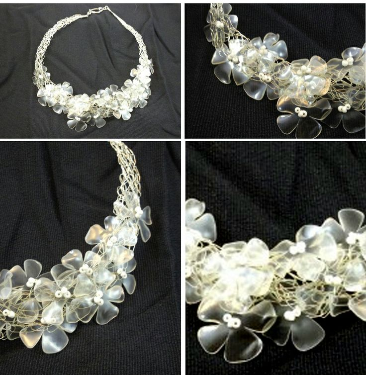 Idee per riciclare bottiglie di plastica: collana di fiori | Idea sent by Célia Machado | #recycling #plastic #flowers #Necklace