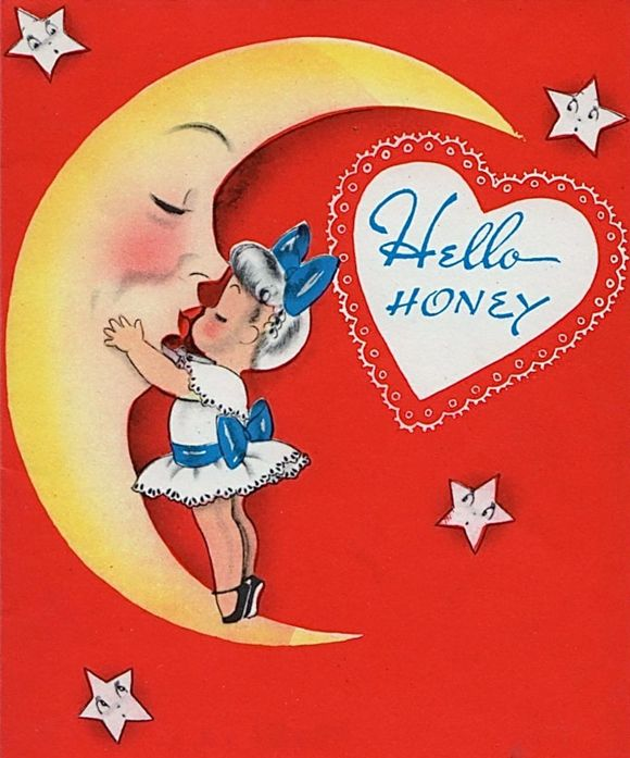 Vintage Valentine Girl and Moon