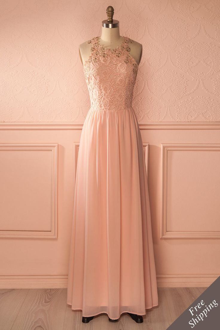 Longue robe dentelle rose clair dos ouvert - Peach floral embroideries open back long dress