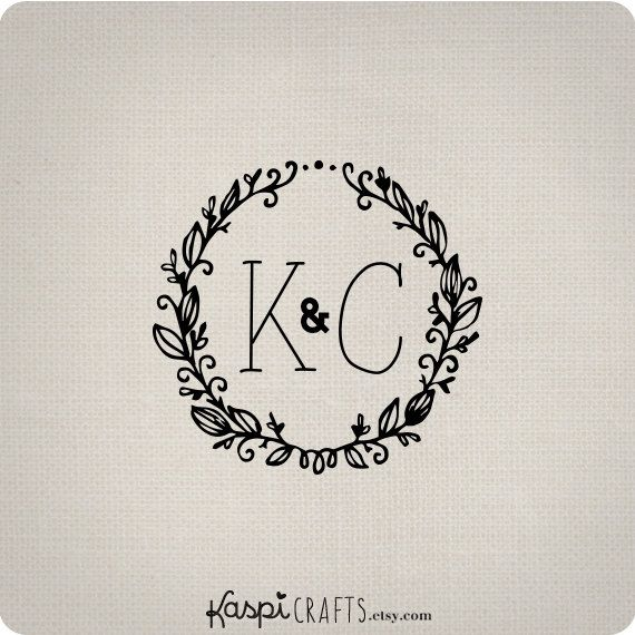 Leafy wreath custom monogram wedding monogram by KaspiCrafts, $8.00