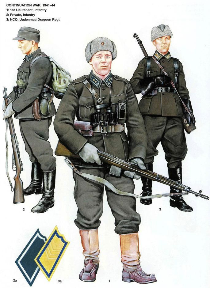 Finnish Army officers, NCOs, and enlisted soldiers' field uniforms during the 1941-1944 Continuation War.