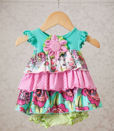 We Cannot Get Enough Of The Beautiful Color Combination And Floral Print.  This Pretty Dress Comes Complete With Diaper Cover For The Perfect Spring  ...