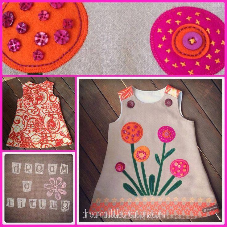 Handmade by dream a little. Bright spring flower pinny love!