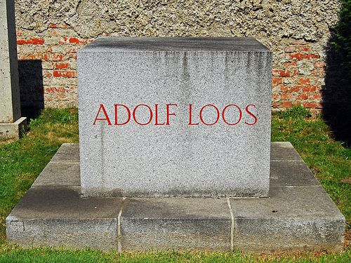Adolf Loos' grave in the Zentralfriedhof in Vienna, Austria