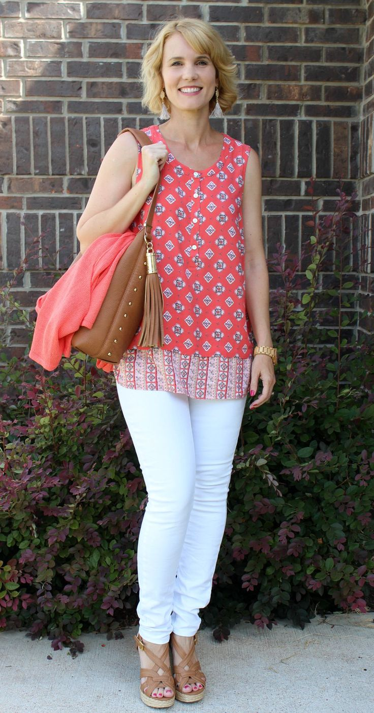 White Jeans Outfit Featuring A Pop of Coral with J. Jill | Mom Fabulous