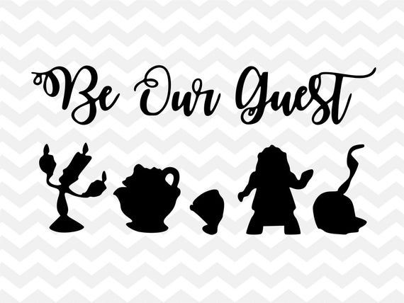 Be Our Guest Disney Svg Beauty And The Beast Lumiere Mrs Potts Chip Cogsworth Silhou Beauty And The Beast Silhouette Disney Silhouettes Disney Font Free