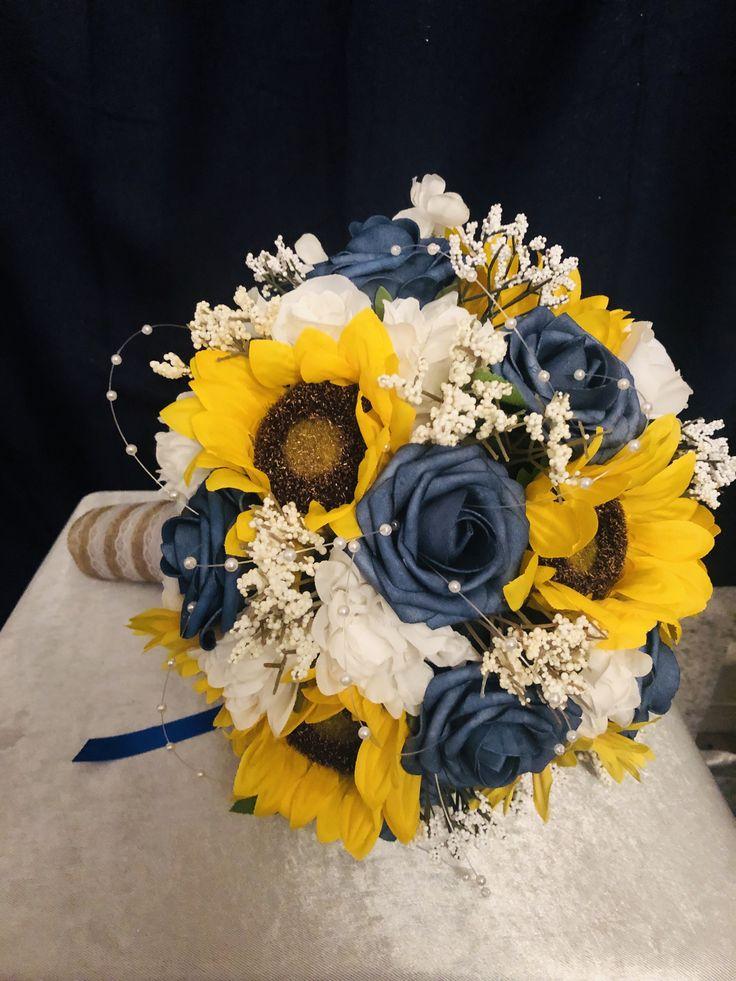 wedding bouquet, sunflower rustic wedding bouquet, navy