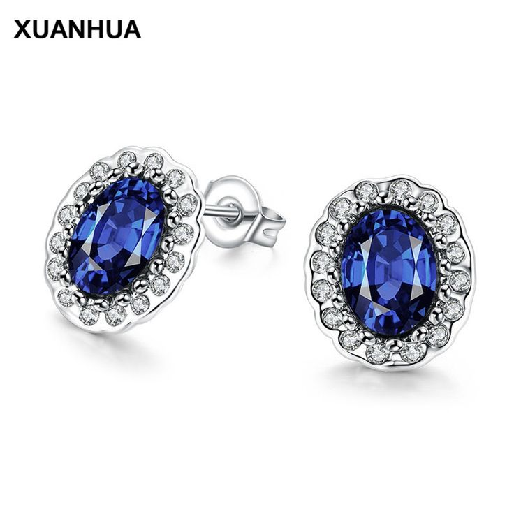 XUANHUA 2017 Fashion Women Jewelry Earrings For Women Blue Large Zircon Noble Femme Stud Earrings