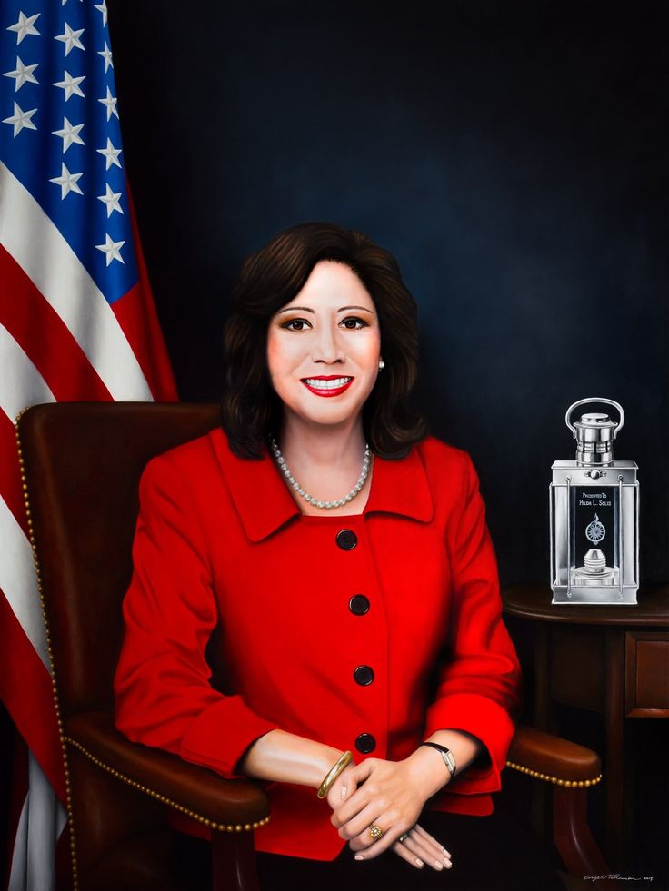 Official Portrait Of The 25th United States Secretary Labor, Hilda L. Solis. Oil On Canvas, 36 X 48 In.