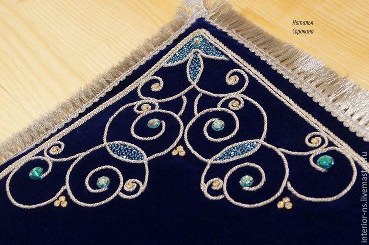 Купить Декоративный коврик для карт таро. - тёмно-синий, коврик, коврик ручной работы