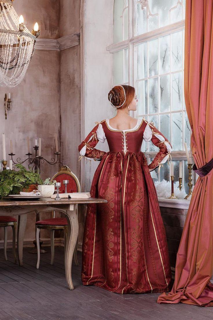 Abito Rosso Rinascimentale Moda Italiana 15 A Inizio 16th Secolo Europa Nel 2020 Abbigliamento Rinascimentale Abiti Abiti Rinascimentali