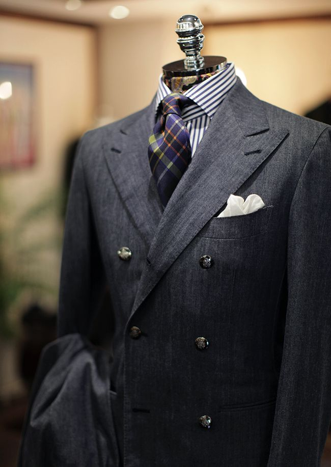 B&Tailor made Denim Double-Breast Suit  B&Tailor made Soktas Blue Stripe Shirt Liverano Silk Tie for B&Tailorshop