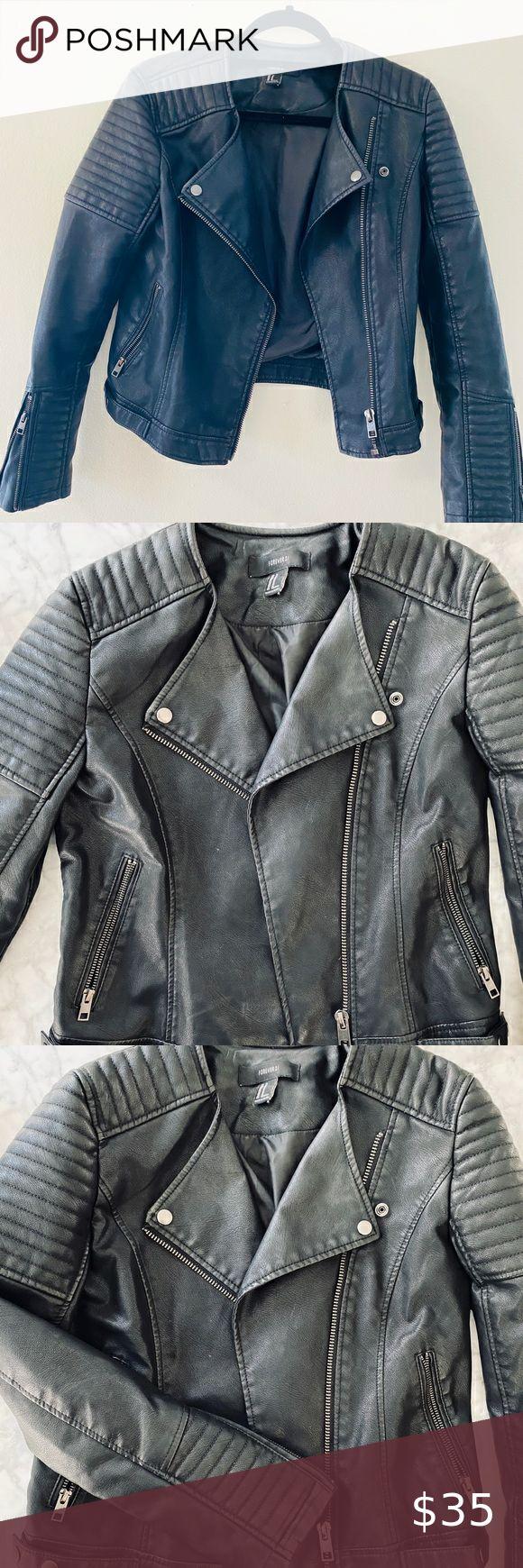 "Forever 21 Black ""Leather"" Jacket Black pleather"