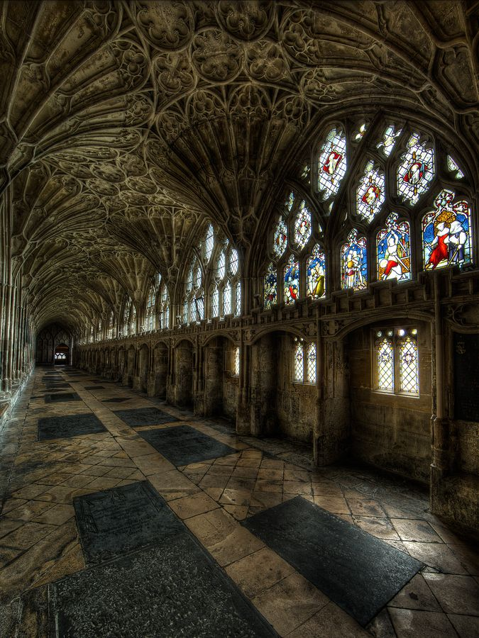 The cloister of Gloucester Cathedral, England, where parts of the famous Harry Potter movies were filmed. Built in 14th century.