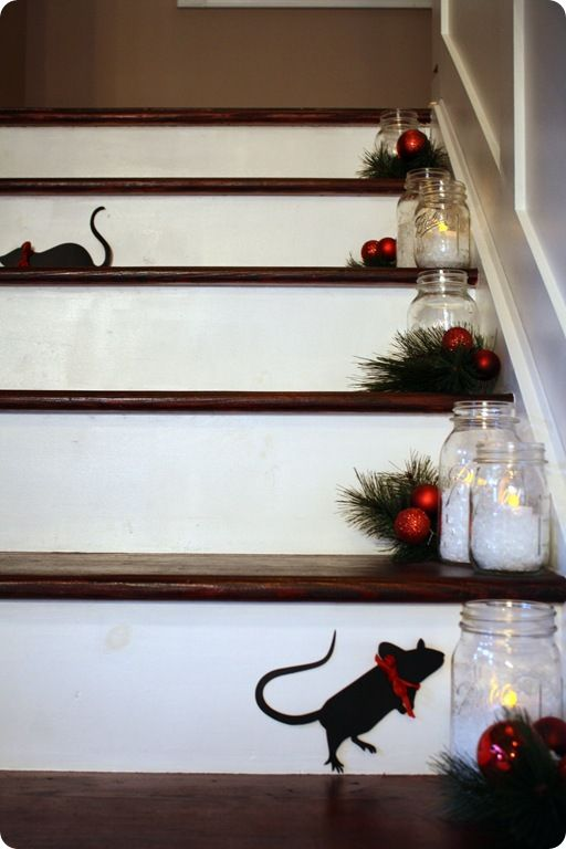 Christmas Mice on stairs