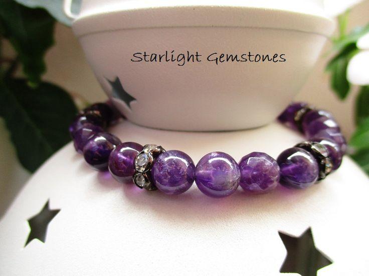 Beautiful Amethyst Gemstone Bracelet with Black Rhinestone Spacers by StarlightGemstones on Etsy