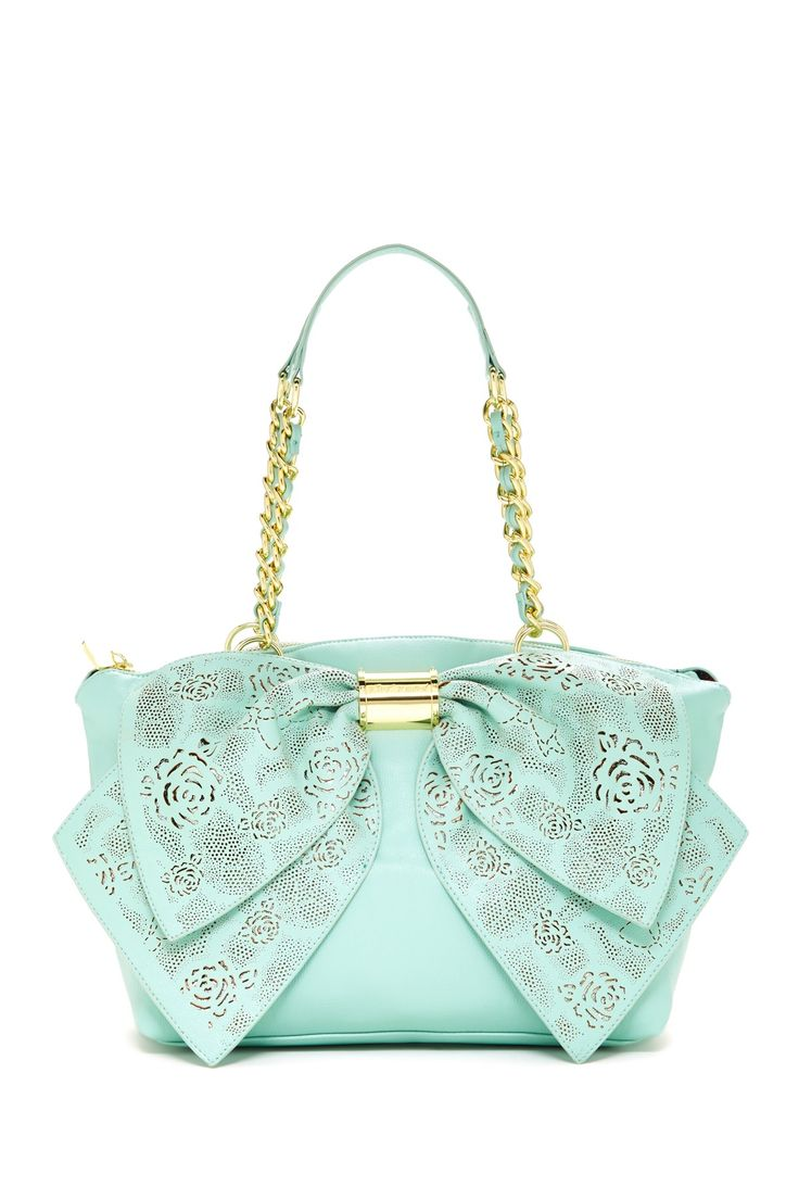 Racey Lacey Bow Satchel Really Cute Purse! Love The Color!