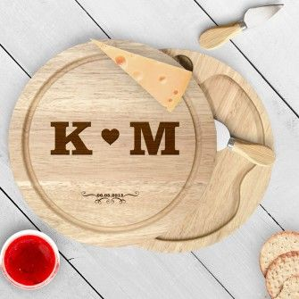 Engraved Wooden Cheese Board Set - Big Initials