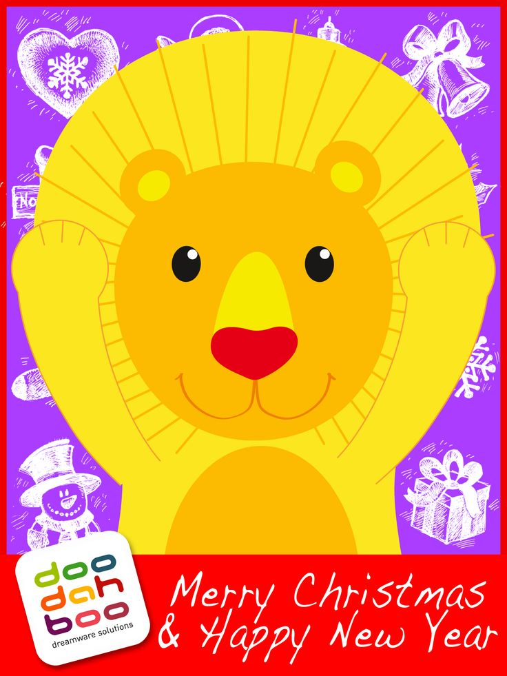 Lion Christmas Greetings Card