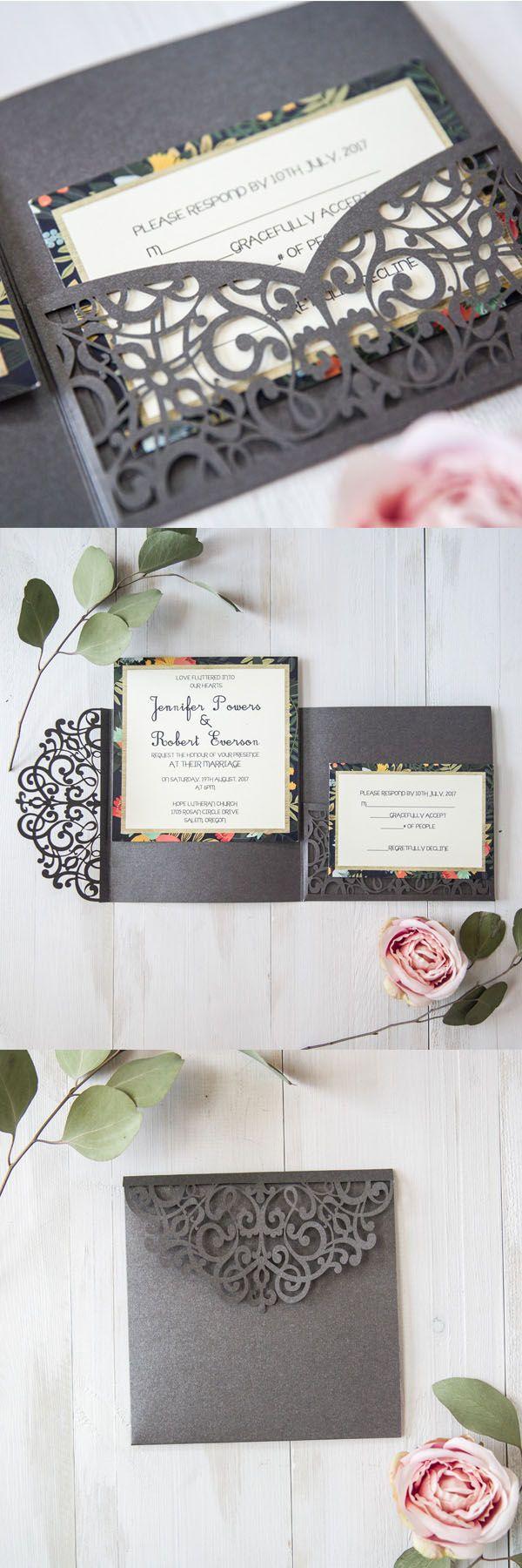 dark grey laser cut wedding invitations for