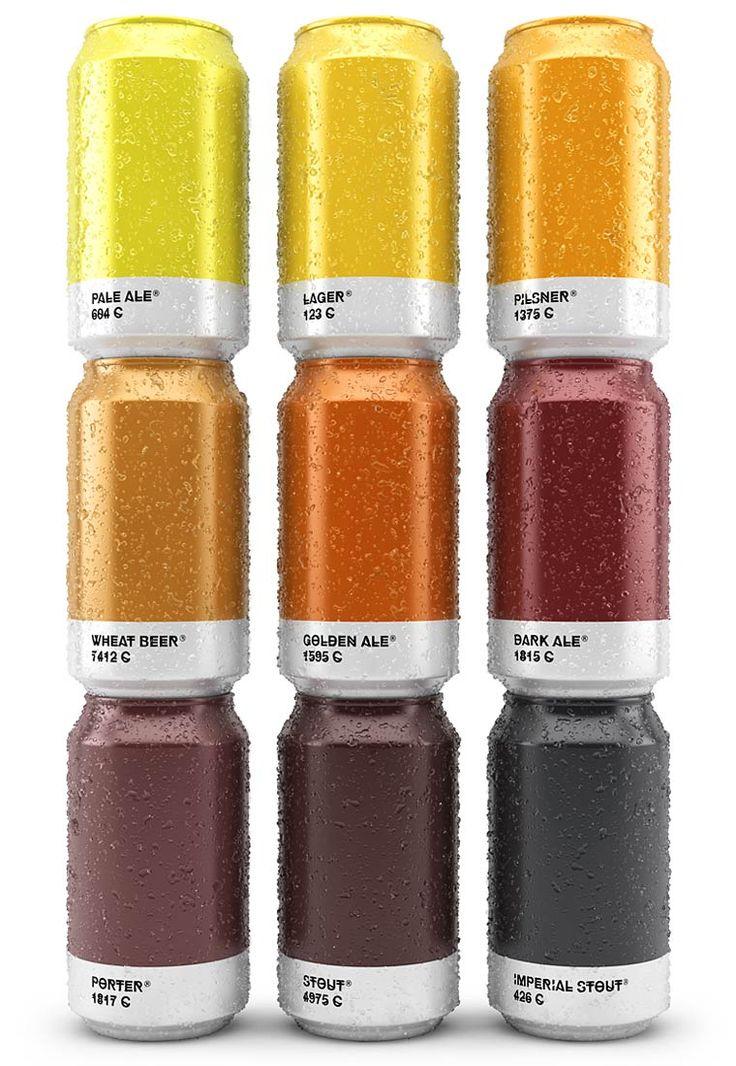 """Le projet """"Beer Colors"""" du graphic designer espagnolTxaber, basé à Bilbao, qui a imaginé descanettes et des bouteilles de bière minimalistes inspirées"""