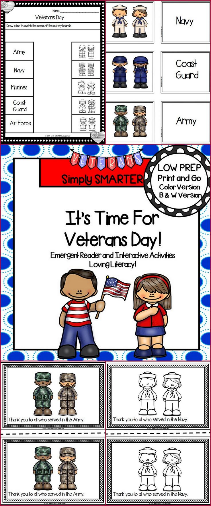 Are you looking for a LOW PREP reading activity for preschool, kindergarten, or first grade?  Then use these activities for guided reading, shared reading, independent reading, social studies, or homework.  Children can choose a colored version or a black and white version of a 9 page reader. The reader contains a patterned sentence on each page and informs children about Veterans Day.  Children will reinforce what they read by completing the response page and by playing card game.
