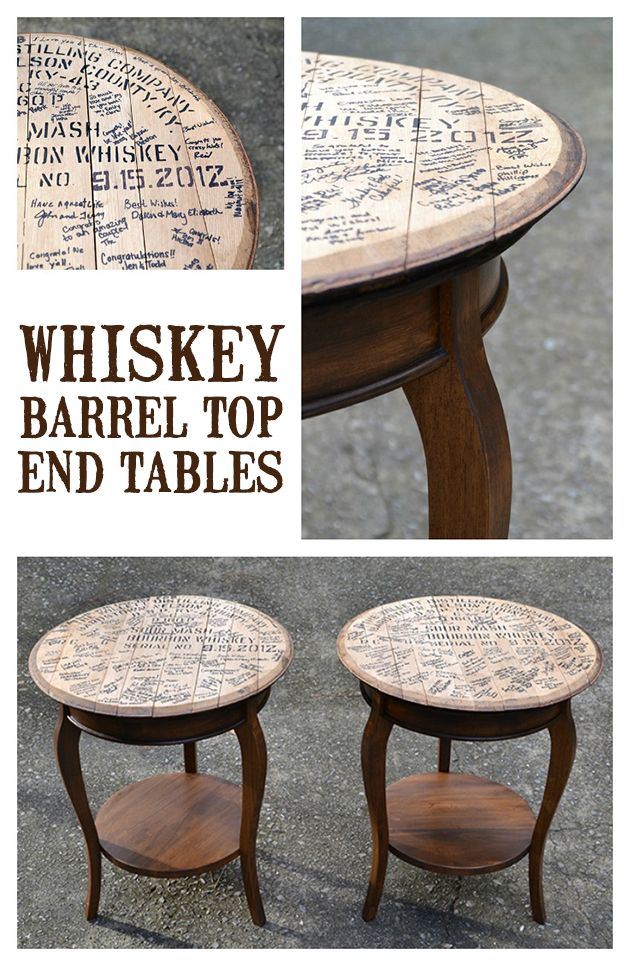 Whiskey Barrel-Top End Tables | http://heartsandsharts.com/whiskey-barrel-top-end-tables/